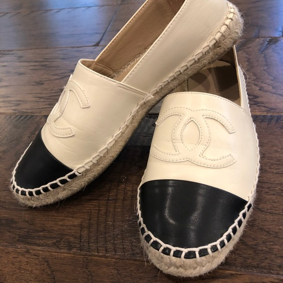 6ca4efc96 CHANEL Shoes | Black And Cream Leather Espadrille | Poshmark